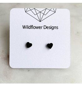 wildflower designs - Heart Studs - Stainless Steel