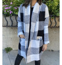 RD Style - Plaid Knit Coatigan