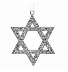 Metal Silver Star of David Ornament