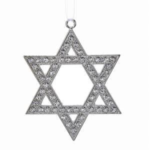 Metal Silver Star of David Ornament