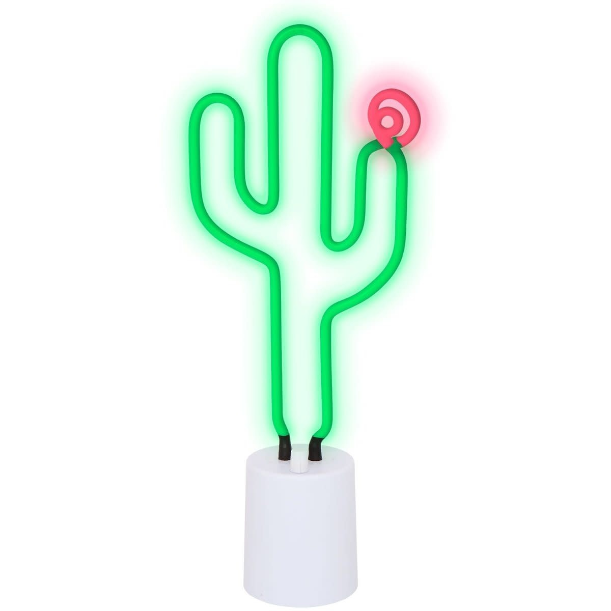 Cactus Neon Desk Light Large (White Base) with Flower