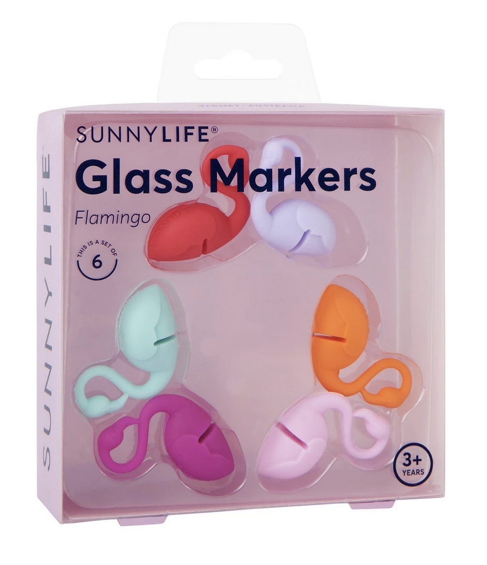 Flamingo Glass Markers - Set of 6
