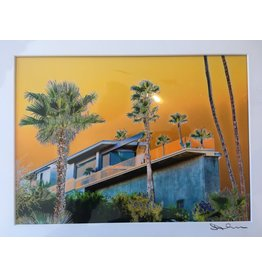 Blue House with Orange Sky Matted- S