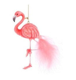 Pink Flamingo Glitter Ornament