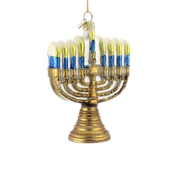 Glass Gold Menorah Ornament