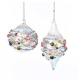 Glass Ball Finial Beaded Ornament