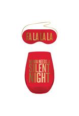 Mama Needs a Silent Night Wine Glass/Eye Mask Set