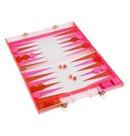 Lucite Backgammon Neon Pink/Orange