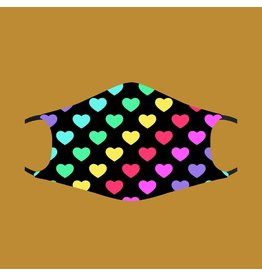 Fashion Face Mask - Rainbow Pride Hearts - Adult