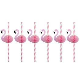 Flamingo Honeycomb Straws Set of 12