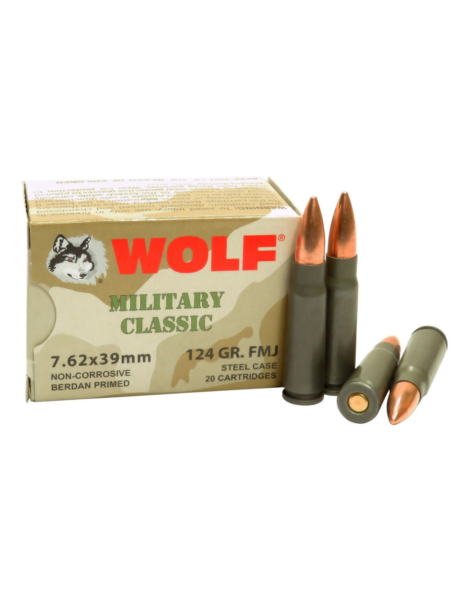 Wolf Wolf - 7.62x39 - 124gr FMJ Military Classic - 20ct
