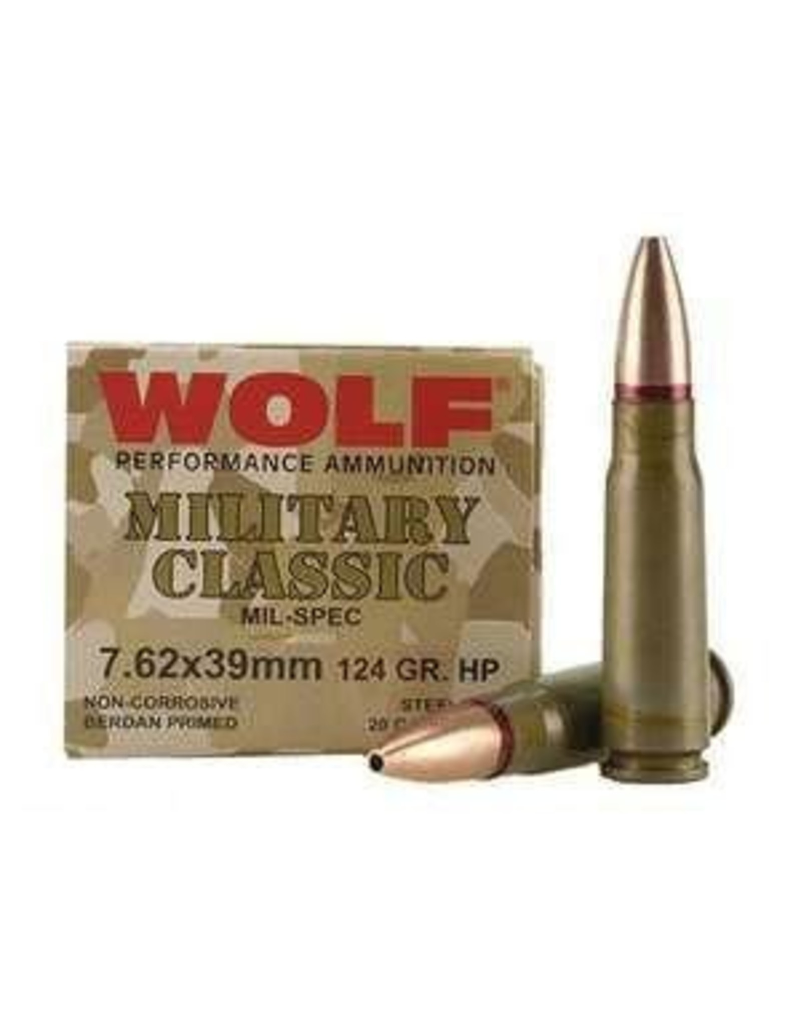 Wolf Wolf - 7.62x39 - 124gr HP Military Classic - 20ct