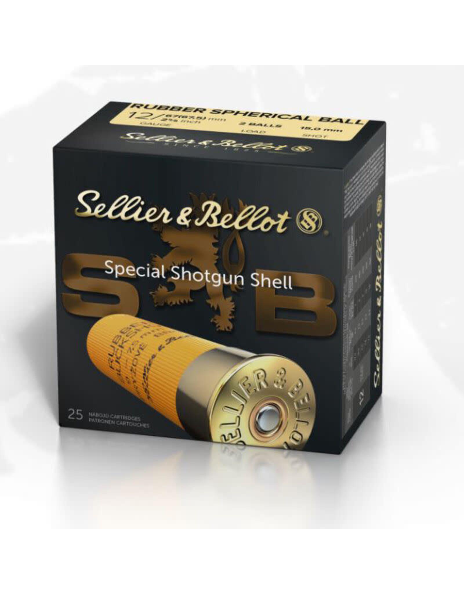 """Sellier & Bellot Sellier & Bellot - 12ga 2-3/4"""" - Rubber Ball 2x15mm - 25ct"""