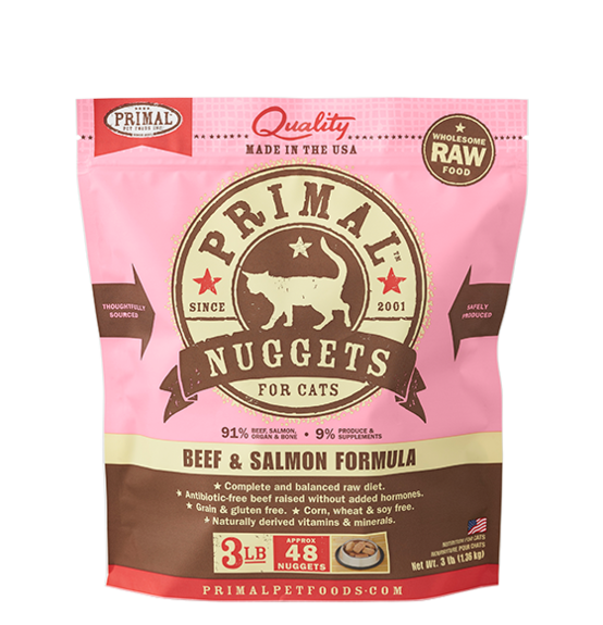 Primal Frozen Raw Cat Food Beef & Salmon 3#