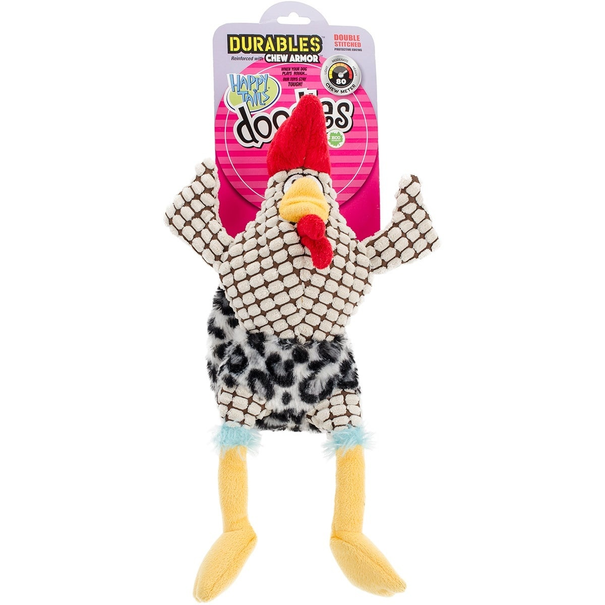 Happy Tails Dog Toy Durable Doodles Wacky Chicken