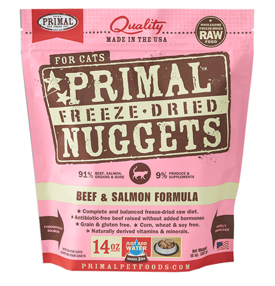 Primal Freeze Dried Cat Food Beef/Salmon 14oz