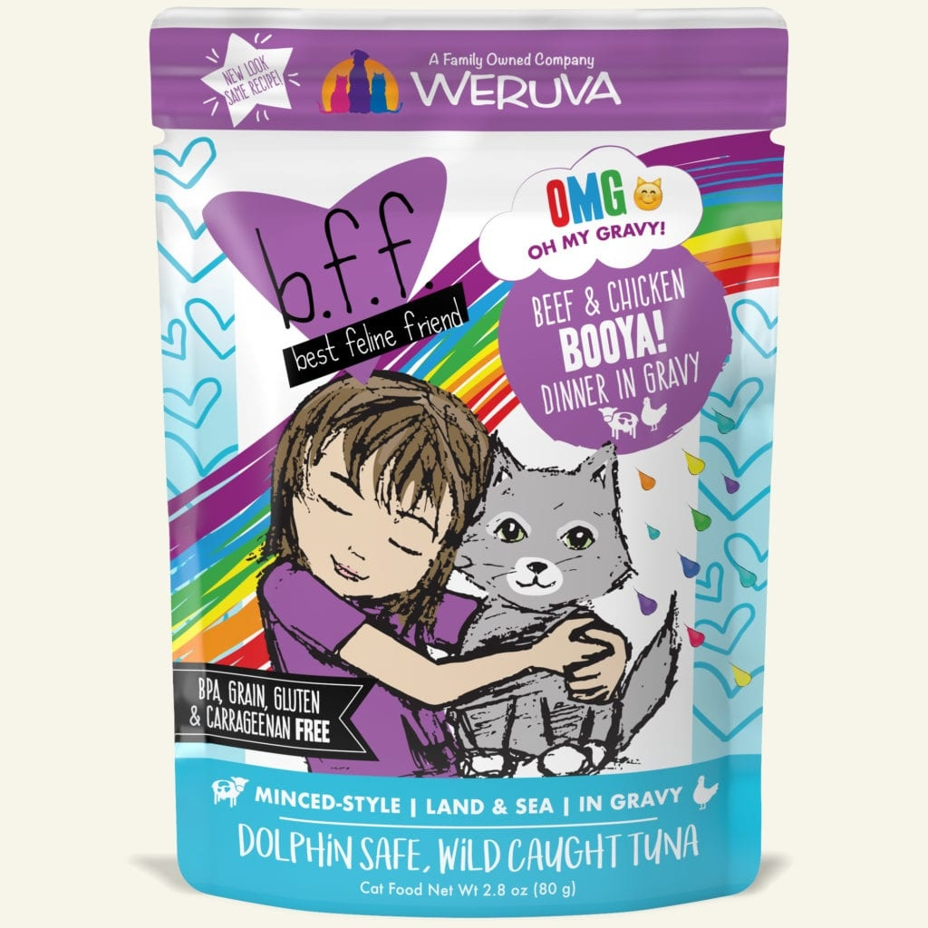 Weruva Cat Food Pouch Grain Free BFF OMG Chicken & Beef Booya