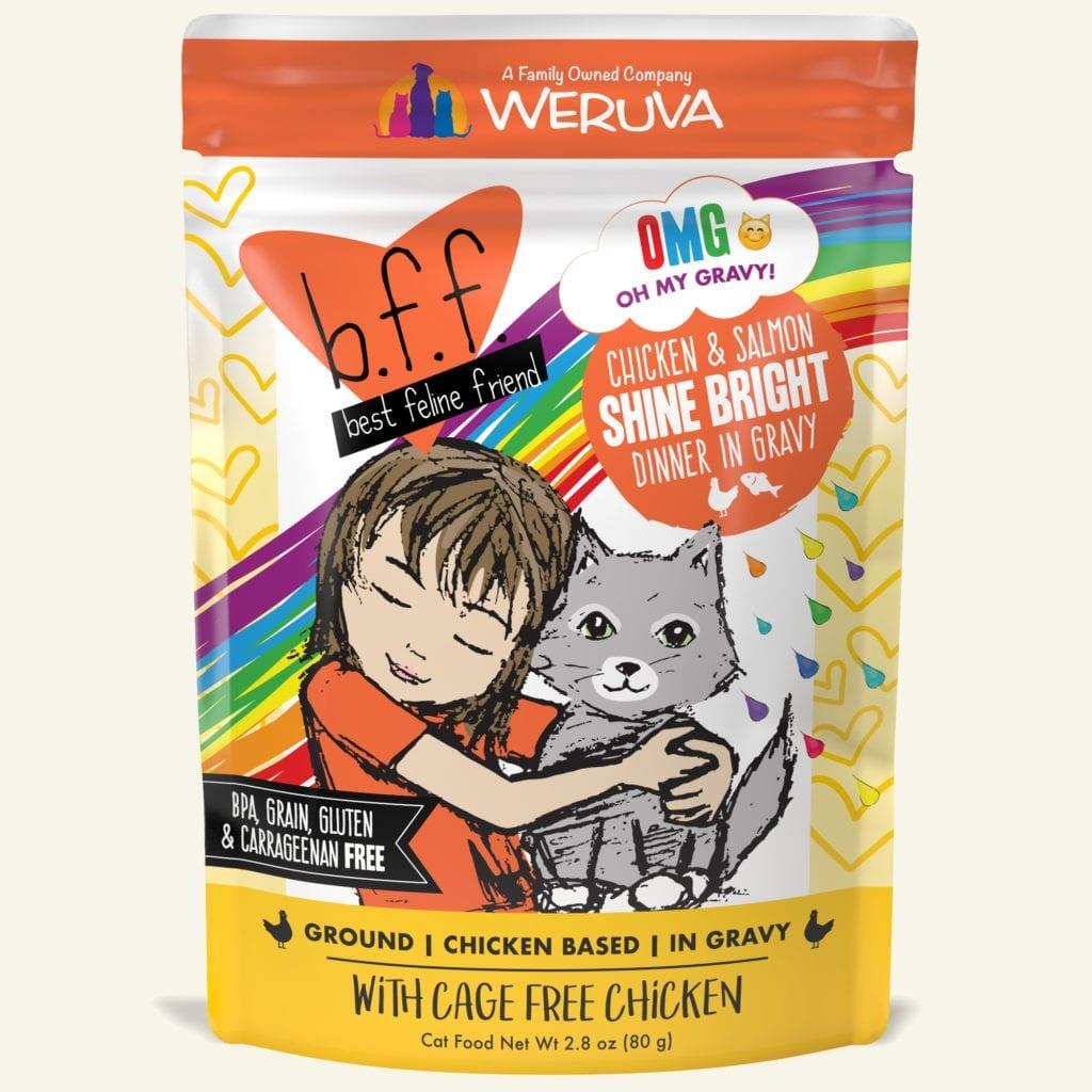 Weruva Cat Food Pouch Grain Free BFF OMG Chicken & Salmon Shine Bright