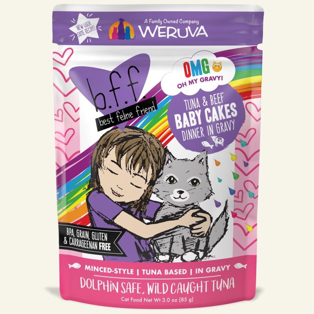 Weruva Cat Food Pouch Grain Free BFF OMG Tuna & Beef Baby Cakes