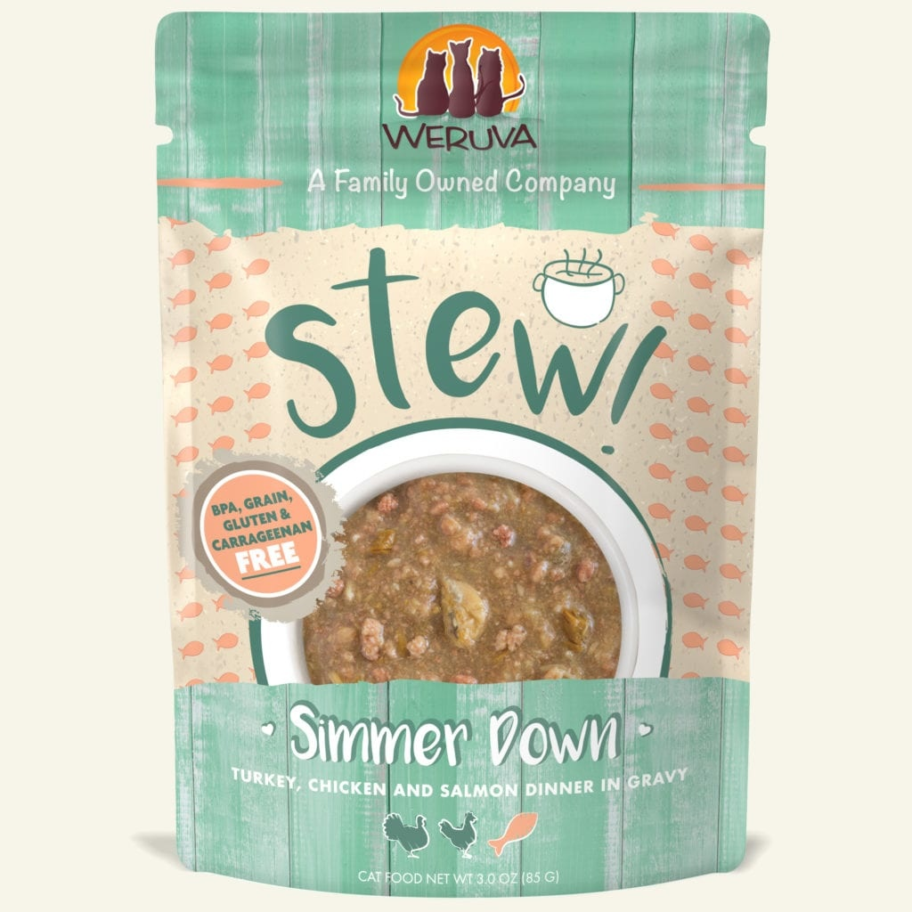 Weruva Cat Food Pouch Grain Free Stew Simmer Down Turkey, Chichen & Salmon