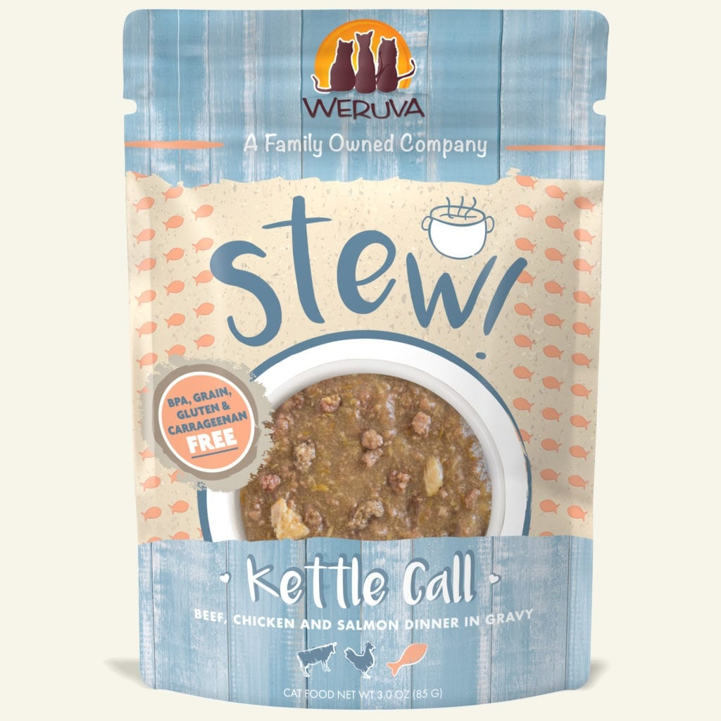 Weruva Cat Food Pouch Grain Free Stew Kettle Call Beef, Chicken & Salmon