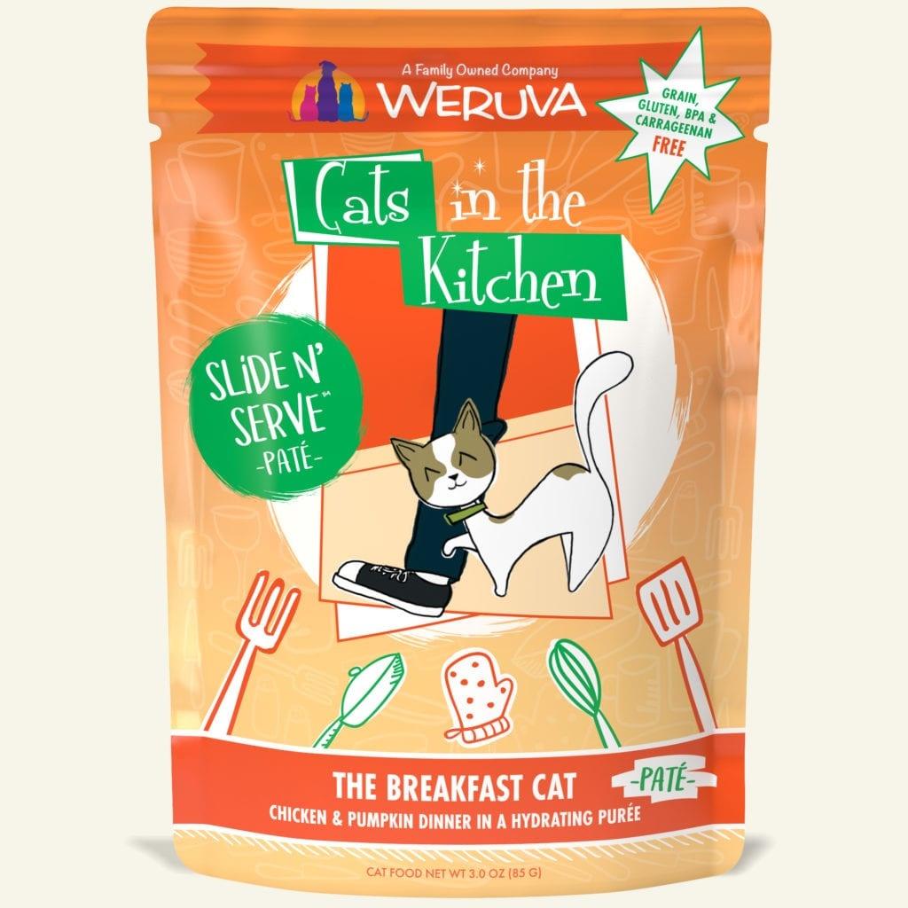 Weruva Cat Food Pouch Grain Free Slide Serve The Breakfast Cat Chicken & Pumpkin