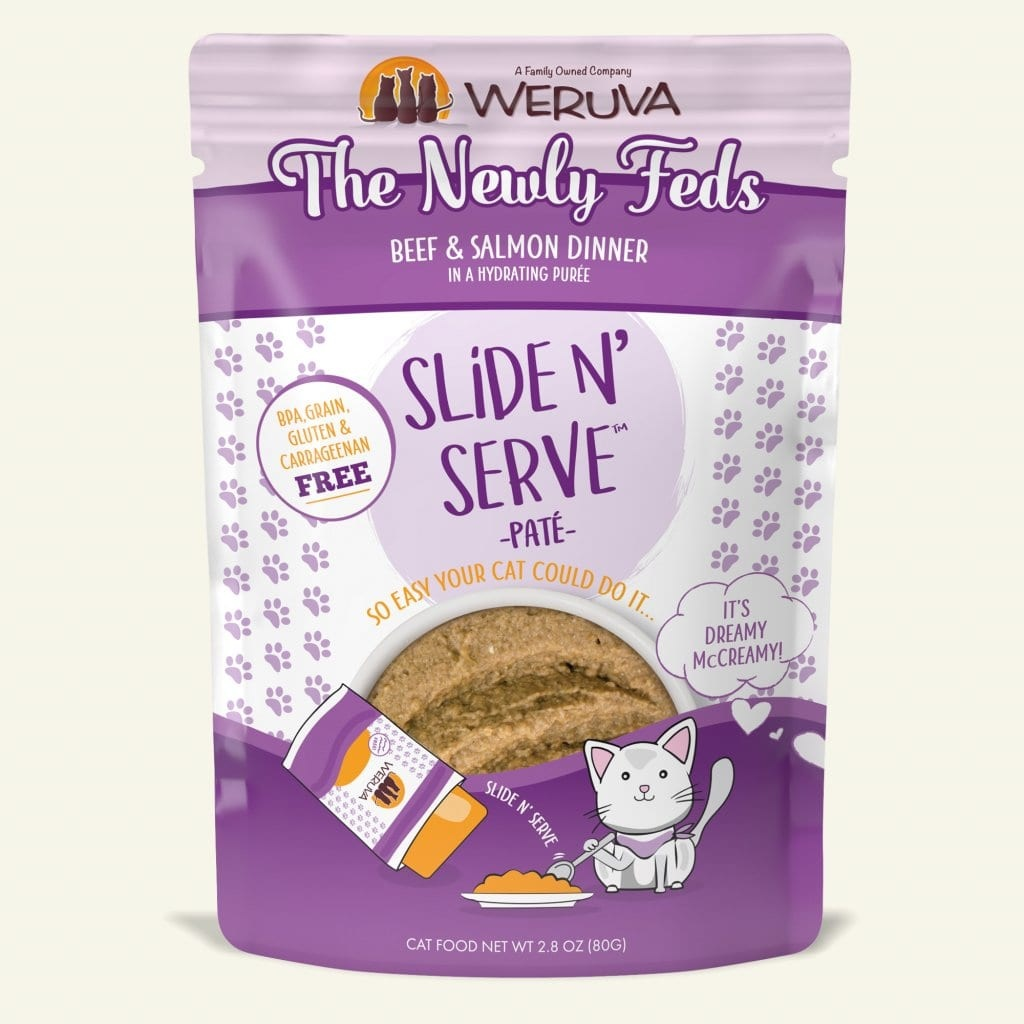 Weruva Cat Food Pouch Grain Free Slide Serve The Newly Feds Beef & Salmon
