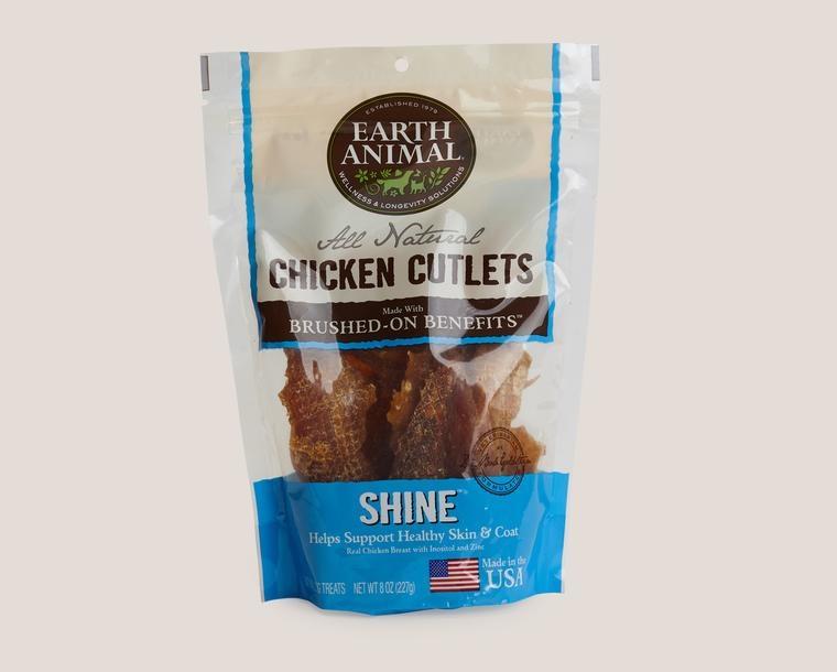 Earth Animal Treat Cutlets Dog Chicken Shine Skin