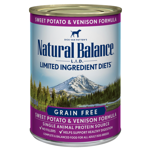 Natural Balance Dog Food Can Grain Free LID Venison