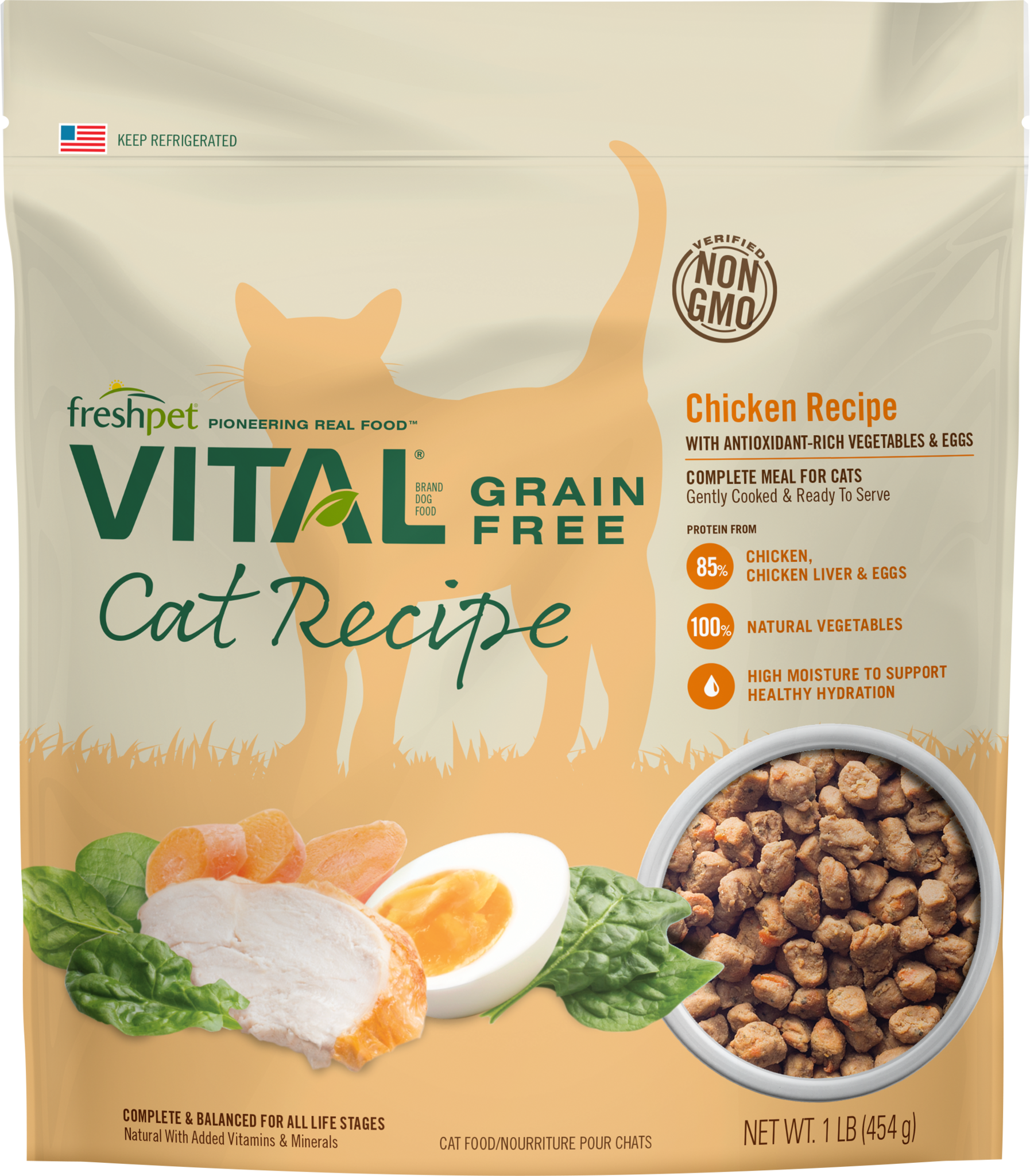 Freshpet Vital Lightly Cooked Grain Free Cat Food Chicken Meal