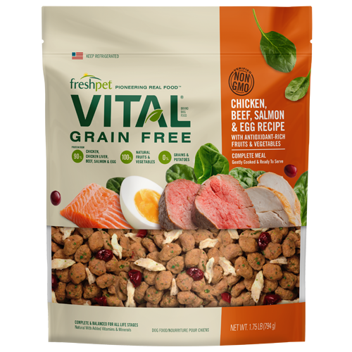 Freshpet Vital Lightly Cooked Grain Free Dog Food Chicken, Beef & Salmon Meal