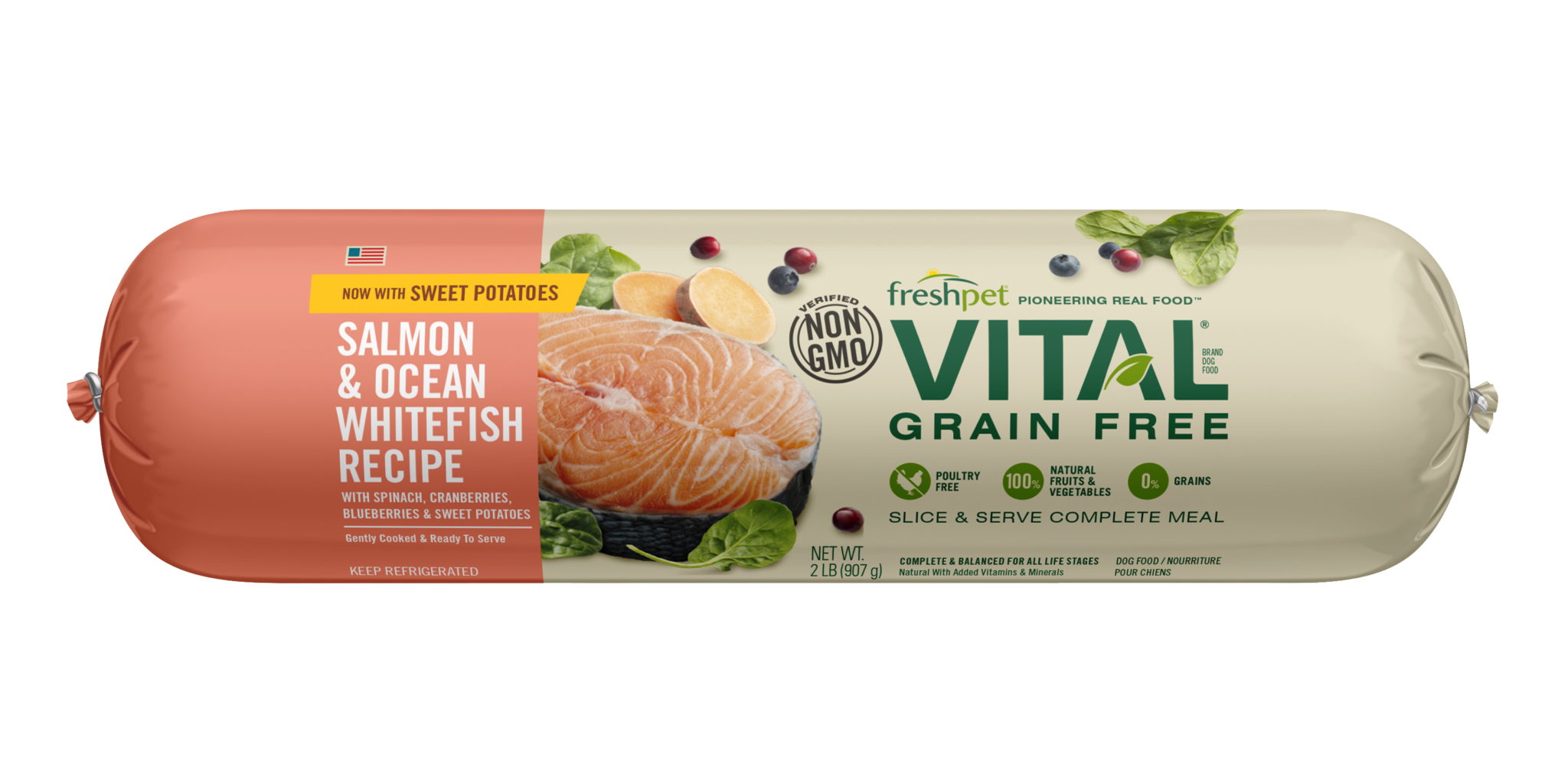 Freshpet Vital Lightly Cooked Grain Free Dog Food Salmon & Whitefish