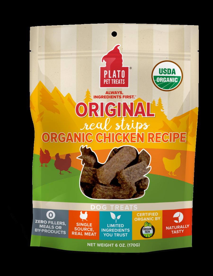 Plato Treat Original Strips Dog Organic Chicken