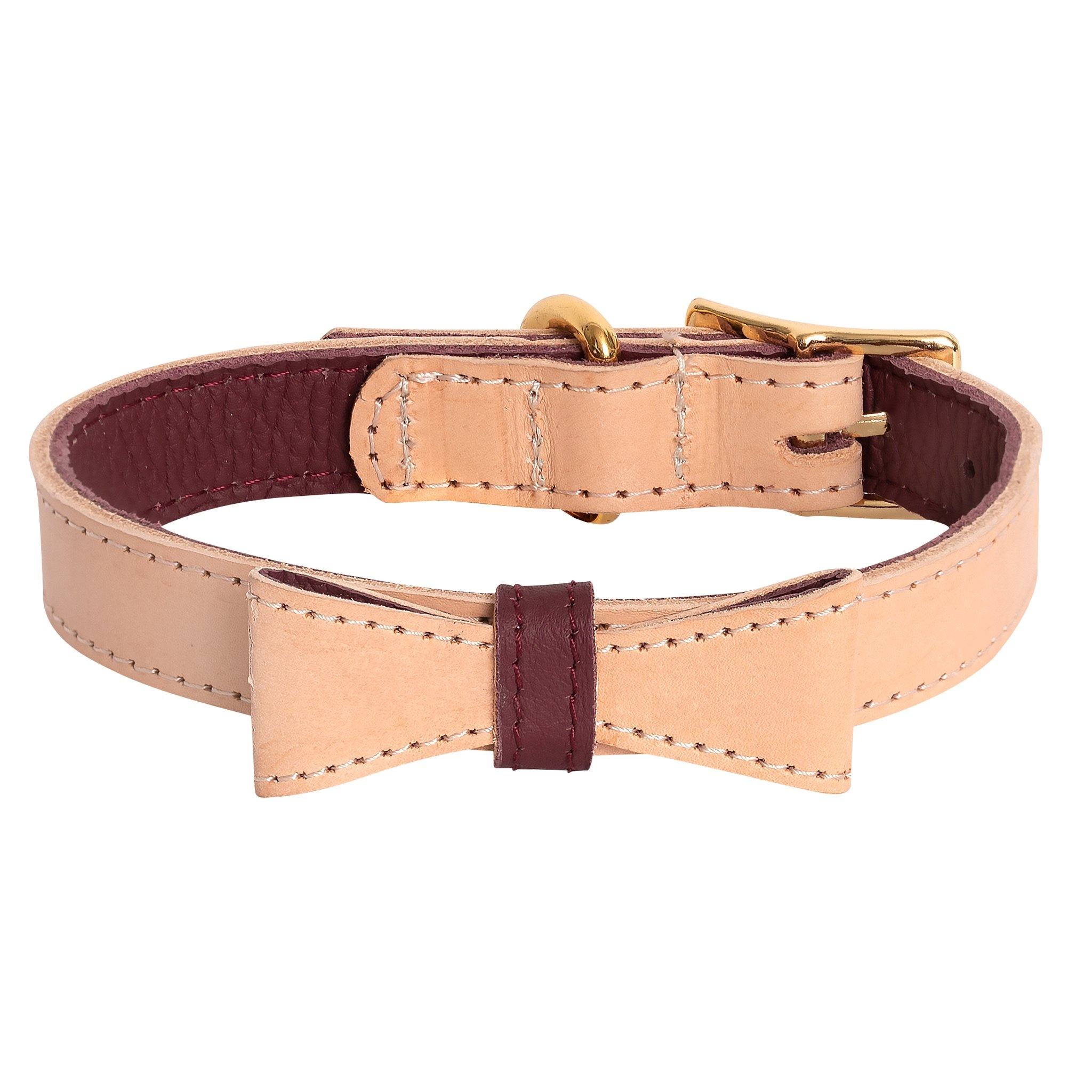Poise Pup Collar Artisan Luscious Bow Leather Maroon