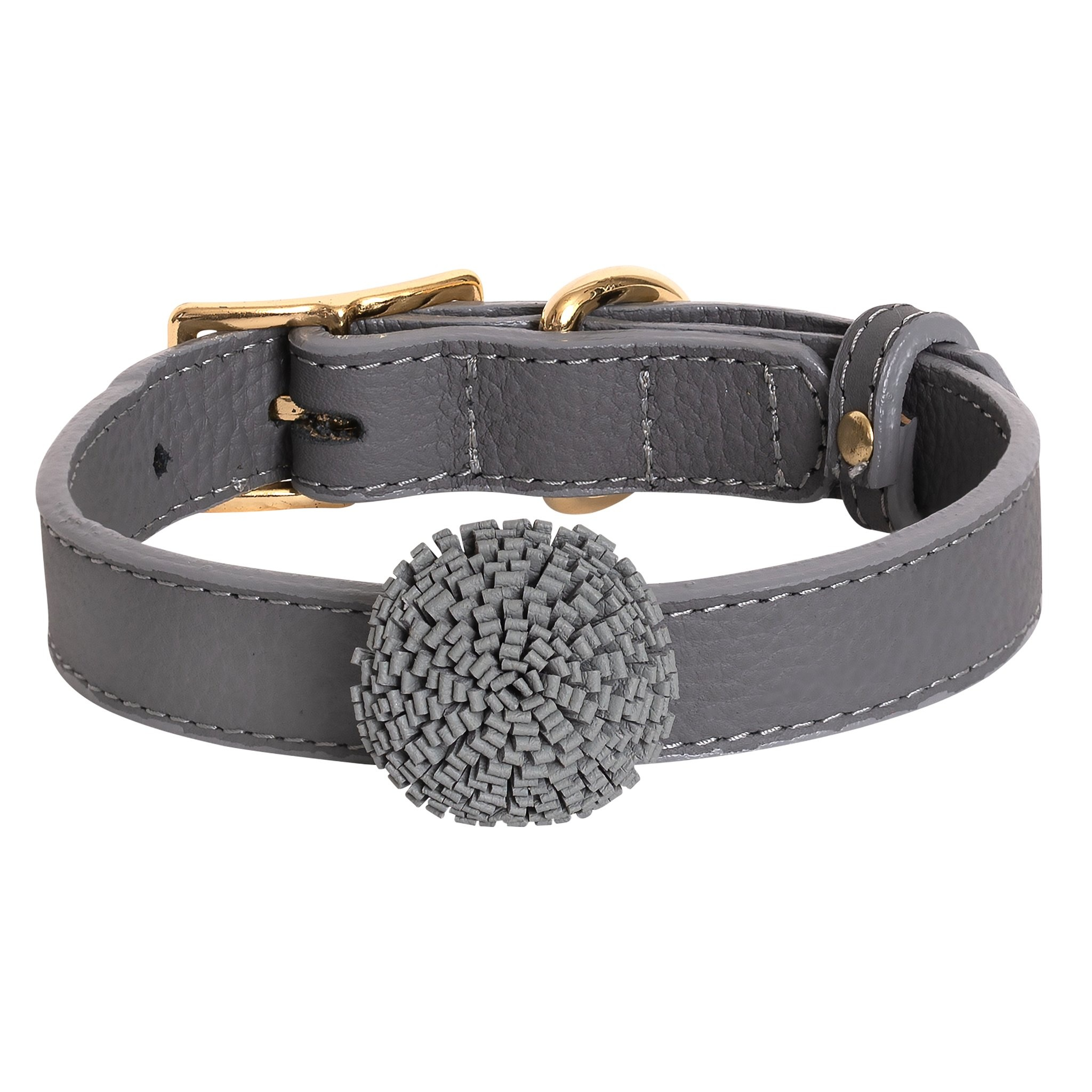Poise Pup Collar Artisan Full Bloom Leather Gray