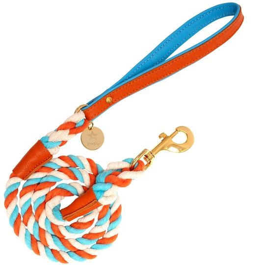Poise Pup Rope Leash Vibrant Sunset w Leather Handle