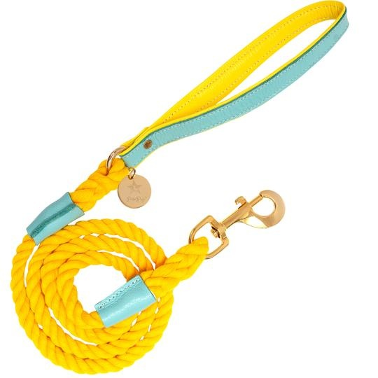 Poise Pup Rope Leash Sunshine Babe w Leather Handle