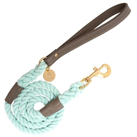 Poise Pup Rope Leash Desert Mint w Leather Handle