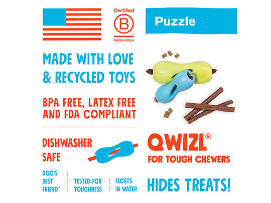 West Paw Treat Toy Qwizl Aqua Blue