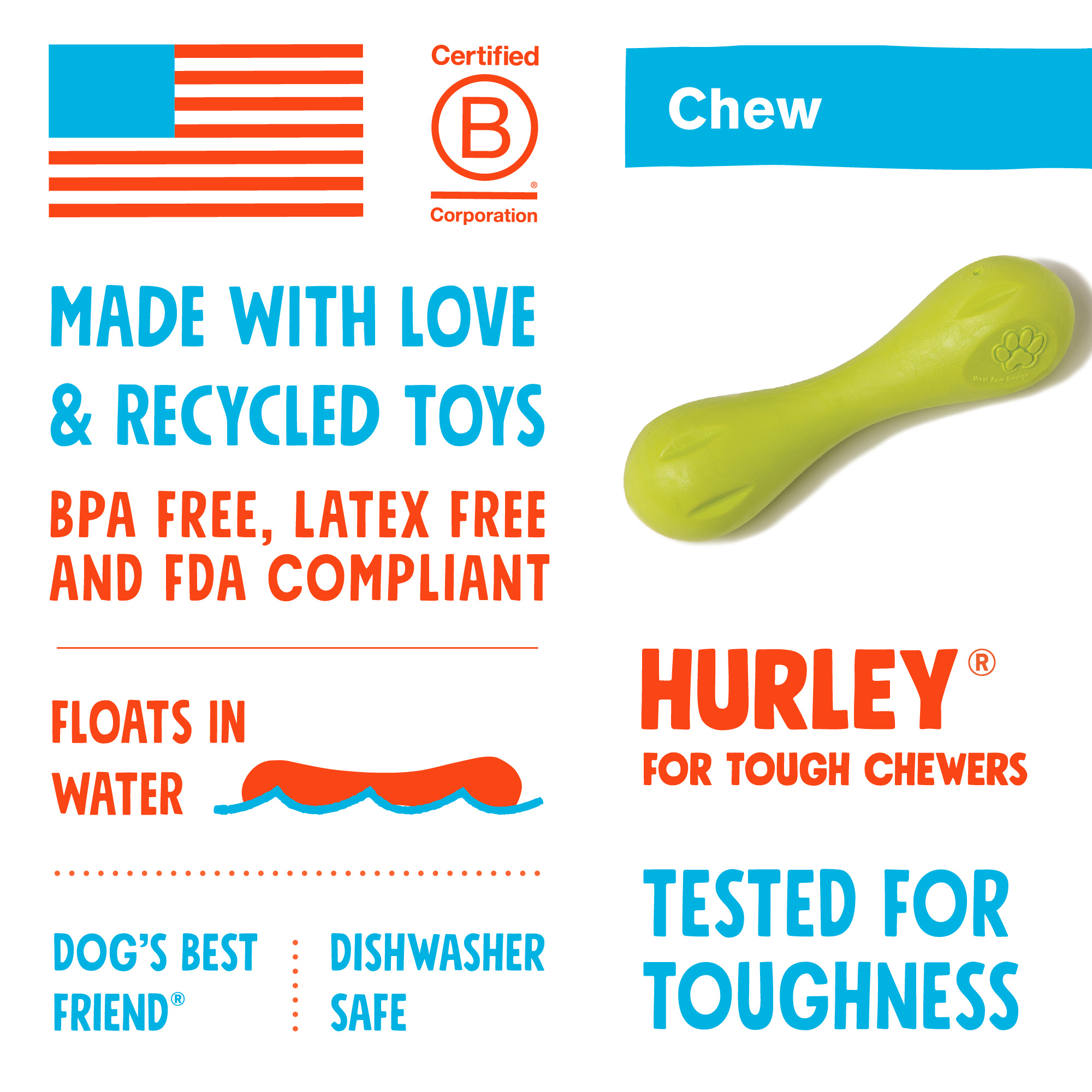 West Paw Toy Hurley Tangerine