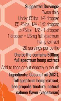 Colorado Hemp Honey Hip 'N Joint Pet Tincture 500 mg; Full Spectrum Hemp Extract