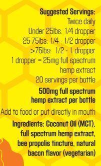 Colorado Hemp Honey Colorado Hemp Honey Crazy Bee Gone Pet Tincture; 500 mg Full Spectrum Hemp Extract