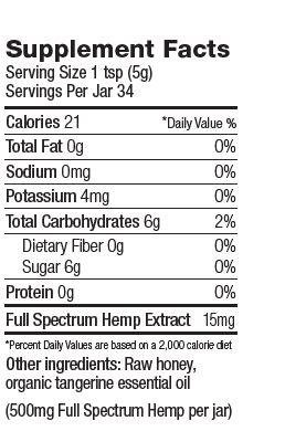 Colorado Hemp Honey CHH Tangerine Tranquility; 500 mg Full Spectrum Hemp Extract