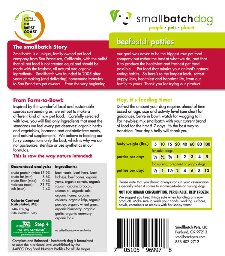 SmallBatch SmallBatch Dog Frozen - Beef Batch