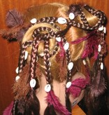 Hair fall pair Gypsy Magician M feathers & cowries