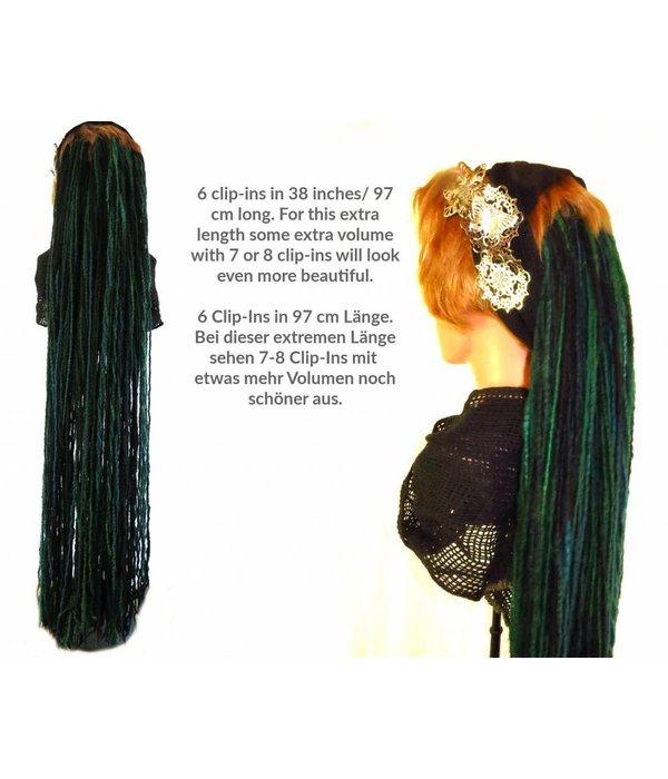 Fine blonde clip-in dreads