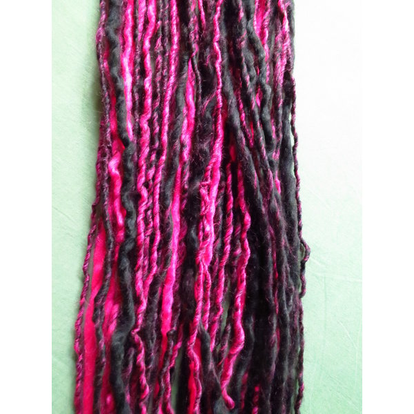Goth Clip-In Dreads, pink black - limited