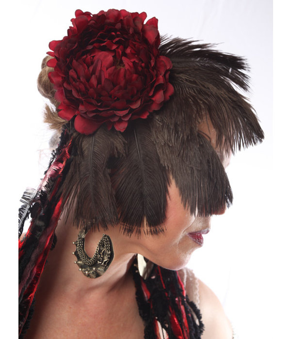 Feather Fascinator Red Passion Nostalgia