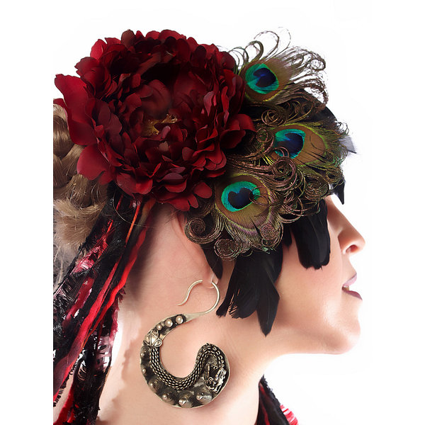 Headpiece Red Passion Peacock
