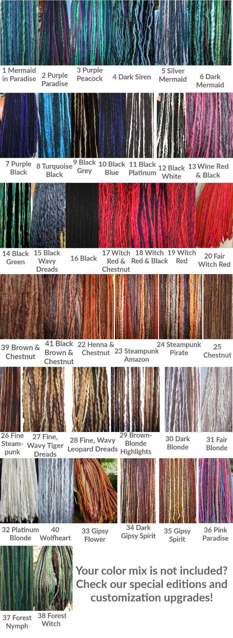 Color charts for clip in dreads, regular colors without custom mixes and special editions